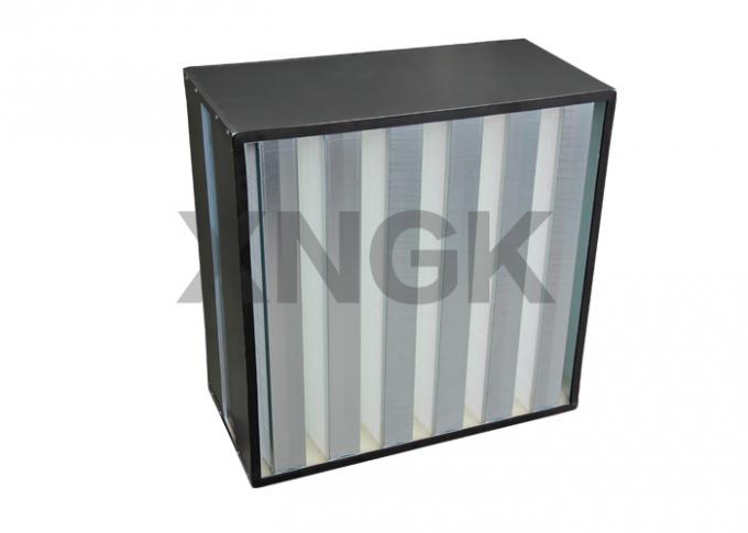 HV Glass Filber V Cell Design High Volume HEPA Filter Metal Frame