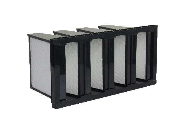 Big Rated Air Flow PP Media V Bank Filter H10 H11 Efficiency Long Service Time