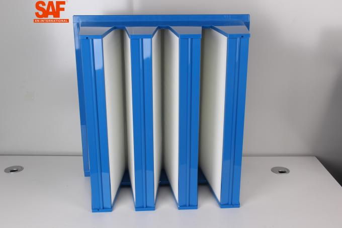 F7 High Flow Custom Air Filters V Bank / Cell ABS Plastic Frame Fiberglass Single Flange Type