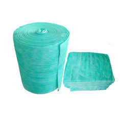 Synthetic Fiber Pocket Filter Media , Green Non Woven Bag Air Filters