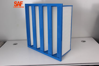 China F7 High Flow Custom Air Filters V Bank / Cell ABS Plastic Frame Fiberglass Single Flange Type supplier