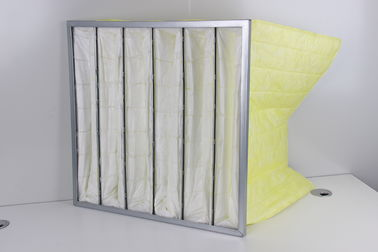 Standard Size Yellow Air Bag Filter , F8 Non Woven Filter Media For Hvac Systems