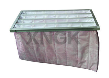 China Pink F7 Air Filter Aluminum Alloy Frame , 8 Pockets Air Handler Filters factory