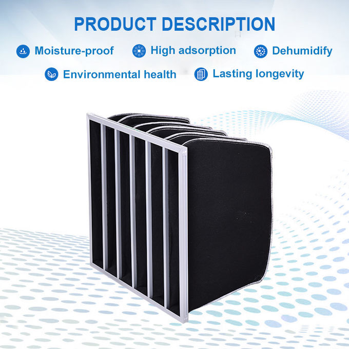 Activated Carbon Pocket Air Filter High Absorbing Black Color With Synthetic Fiber